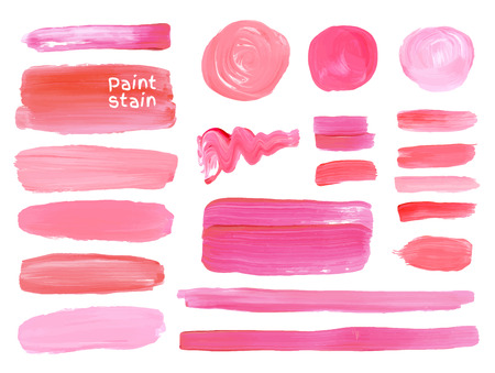the lipstick: Set of cosmetic texture round srains isolated on white. Vector oil paint texture. Make up colors.