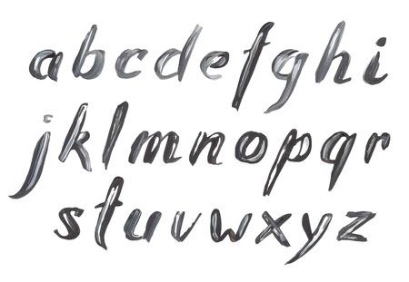 手描き黒ブラシ ストローク油絵フォントです。  イラスト・ベクター素材