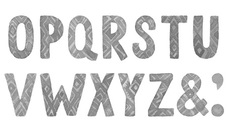 oz: Hand drawn ethnic watercolor letters O-Z. Vector font.
