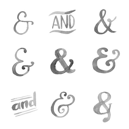 ampersand: Hand drawn watercolor ampersands set for your desgn