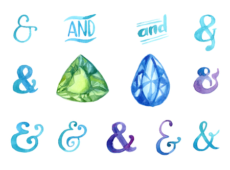 Hand drawn watercolor ampersands and gemstones set for your desgn