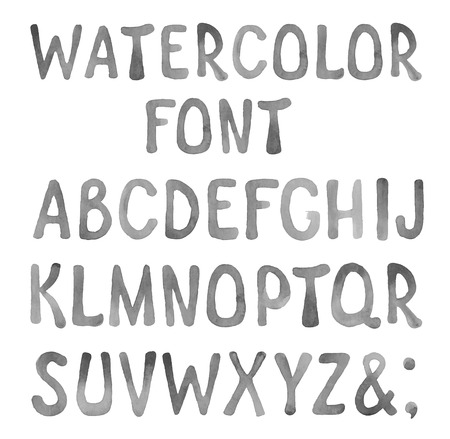 artistic font: Hand drawn watercolor artistic font Illustration