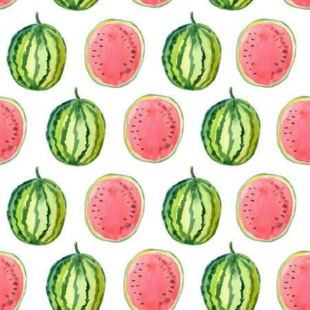 watermelon slice: Hand drawn watercolor seamless pattern with watermelon