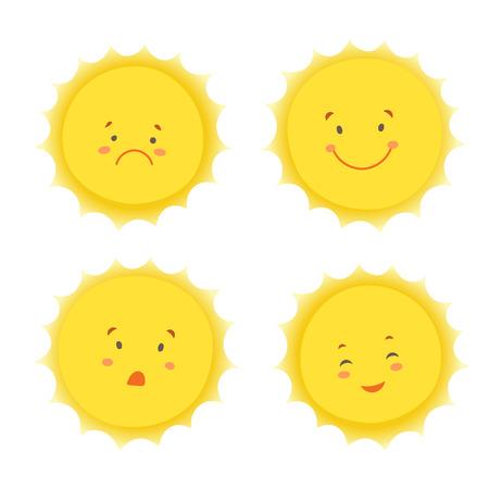 carita feliz caricatura: Soles vector fijadas. Vectores