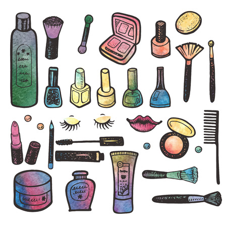 Hand drawn watercolor make up set. Cosmetic and beauty collection.