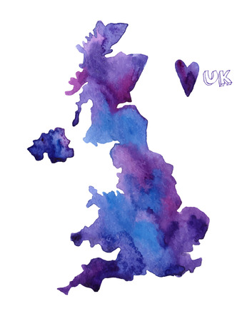 uk: Hand drawn watercolor UK map.