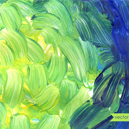 Hand drawn oil painting background. Green brush strokes. Spring colors.