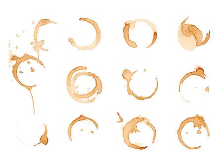 ? Offee vlekken set geïsoleerd op wit. Vector illustratie.