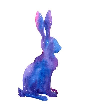 lapin silhouette: Tiré par la main aquarelle lièvre illustration. Illustration