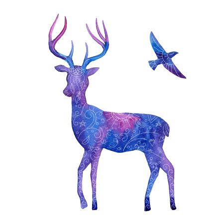 Hand getekende aquarel illustratie. Silhouet van een hert en vliegende vogel. Stock Illustratie