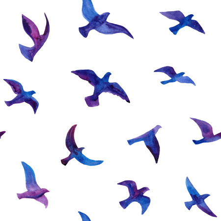 手でシームレスな背景には、水彩の鳥の群れが描かれています。  イラスト・ベクター素材