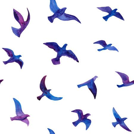 bandada pajaros: De fondo sin fisuras con las aves acuarela dibujado a mano rebaño. Vectores
