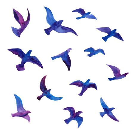 손으로 그린 수채화 새들이 무리. 벡터 일러스트 레이 션입니다.