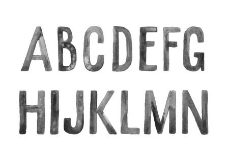 cepillo: Dibujado a mano de fuente artística de la acuarela, cartas AN