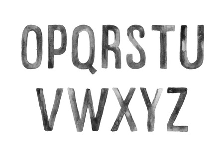 artistic: Hand drawn watercolor artistic font, letters O-Z