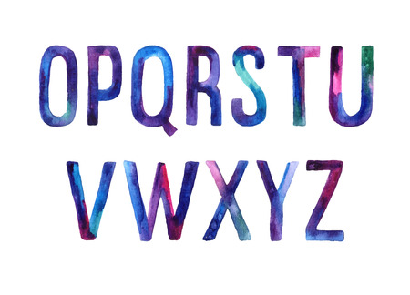 Hand drawn watercolor artistic font, letters O-Z