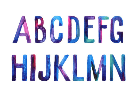 Hand drawn watercolor artistic font, letters A-N Illustration