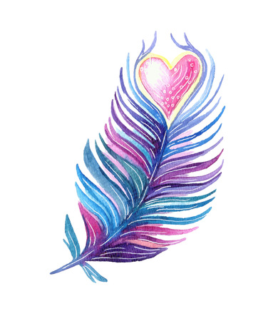 Hand drawn ethnic tribal feather with heart. Vector watercolor illustration.
