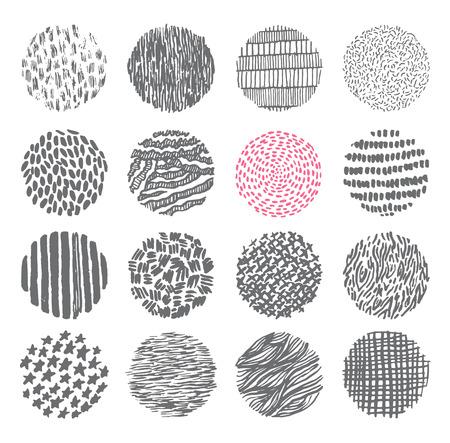 Hand drawn circles ink textures set