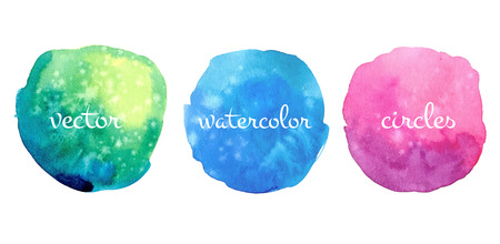 Hand drawn watercolor vector circles set.