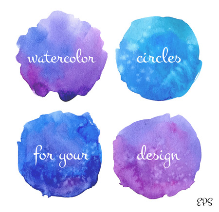 vibrant color: Four hand drawn watercolor circles set.