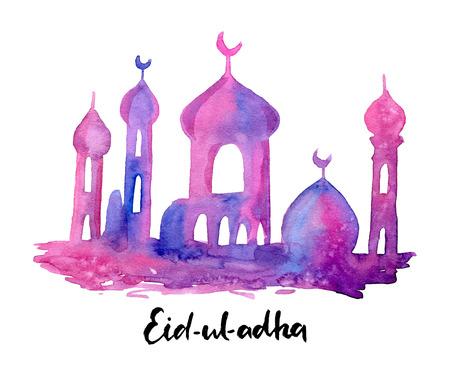 手拉的水彩清真寺剪影。