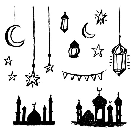Hand drawn islamic design elements set.