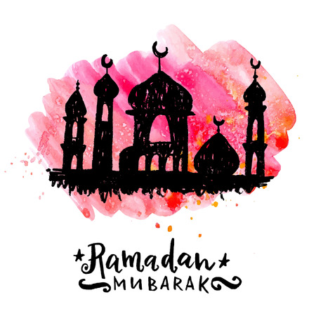 al: Ramadan Mubarak greeting card. Hand drawn mosque silhouette on a colorfull watercolor stain. Illustration