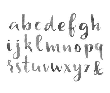 Hand drawn watercolor modern calligraphic alphabet.