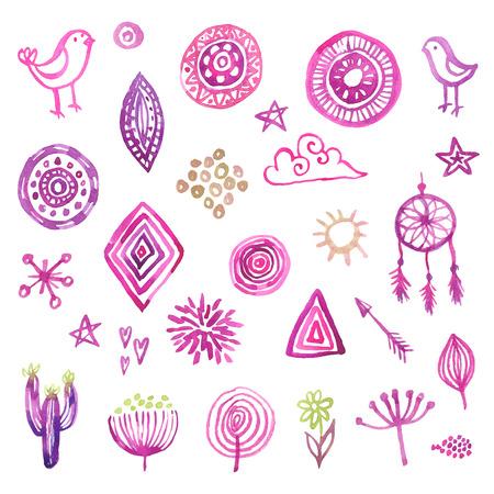 heart background: Hand drawn watercolor design elements set for your design Illustration