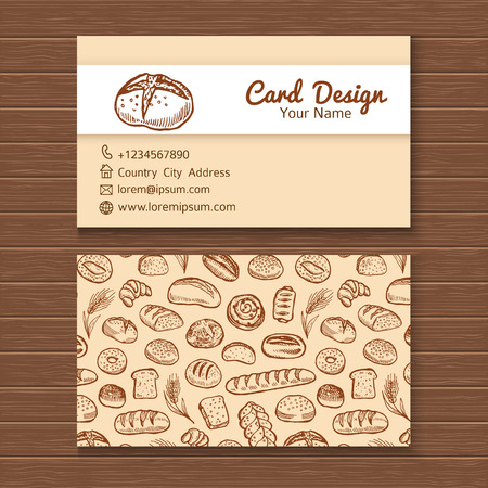 bakery: Business card template with hand drawn doodle bakery set.