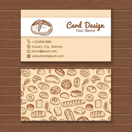negocios comida: Plantilla de la tarjeta de visita con dibujado a mano conjunto panadería garabato. Vectores