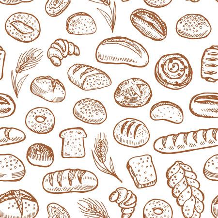 Hand drawn bakery doodles vector seamless pattern. Illustration