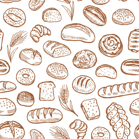 Hand drawn bakery doodles vector seamless pattern. Vettoriali
