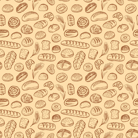 Hand drawn bakery doodles vector seamless pattern. Ilustracja