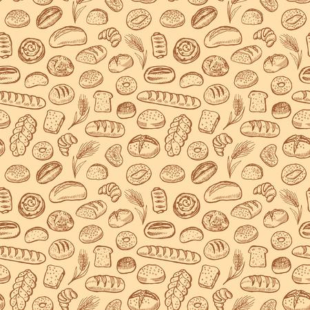 Hand getrokken bakkerij doodles vector naadloze patroon.