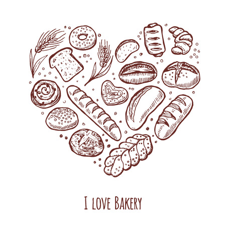 baguette: I love bakery. Hand drawn icons set in the shape of heart.