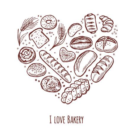 Ik hou van de bakkerij. Hand getrokken pictogrammen in de vorm van hart. Stock Illustratie
