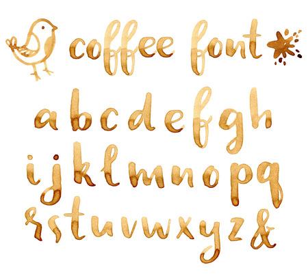 創造的な手描きコーヒー汚れあなたのデザインのフォントです。  イラスト・ベクター素材