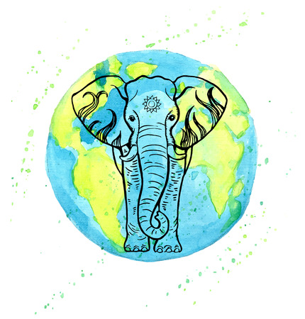 planet earth: Hand drawn elephant on a watercolor Earth planet background