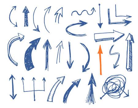 flecha direccion: Flechas drenadas mano conjunto de vectores. EPS vector.