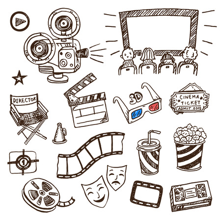 movie and popcorn: Hand drawn cinema icons doodle set. Illustration