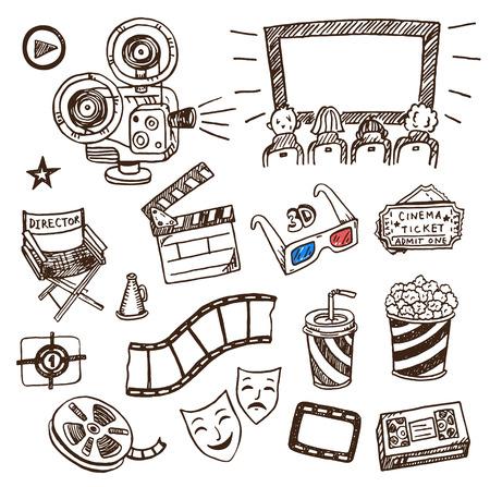 camara de cine: Iconos drenados mano del cine Doodle conjunto. Vectores