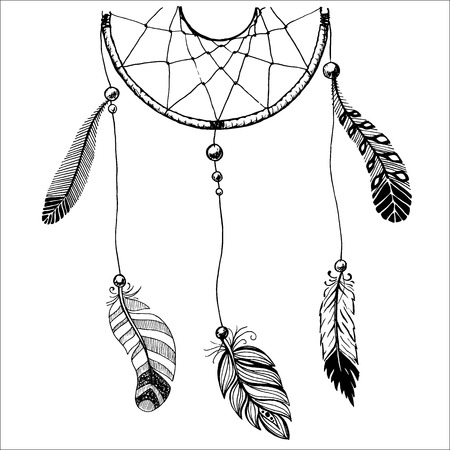 beads: Ethnic illustration with American Indians dreamcatcher. Hand-drawn vector eps10.