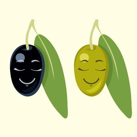 fresh fruit: black and green olive cartoon vector illustration set