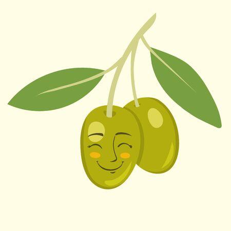 green olive: Green olive cartoon vector illustration