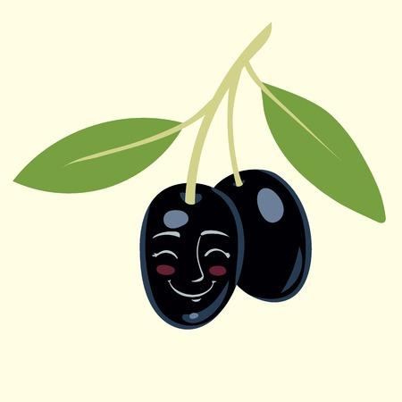 black olive: Black olive cartoon vector illustration