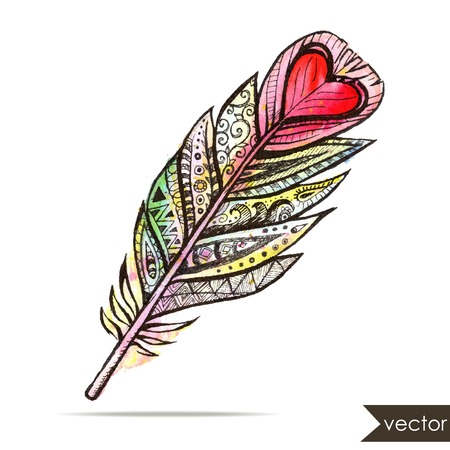 atrapasue�os: Pluma tribal �tnico con el coraz�n. Vector ilustraci�n de la acuarela.