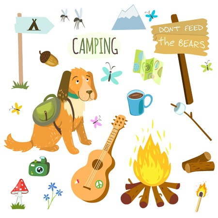 camping equipment: Set of camping equipment and objects in vector with campfire, guitar and dog Illustration
