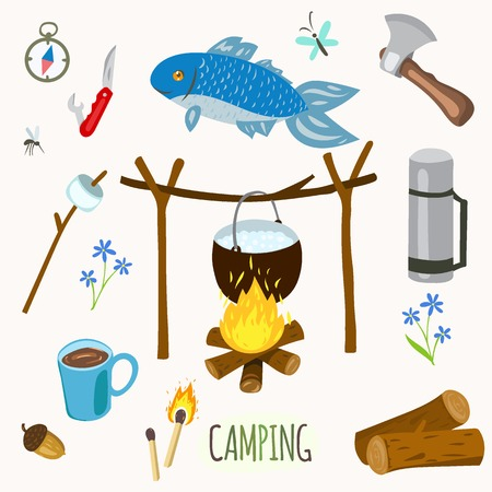 objects equipment: Set of camping equipment and objects in vector
